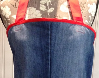 Denim full apron, women's denim apron dress, vintage crochet pockets, red ribbon ties, red bias binding trim, repurposed denim