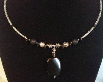 Onyx Pendant Choker Necklace