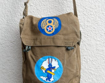 Hand painted messenger bag - USAAF 8th Air Force and 324 Squadron badges