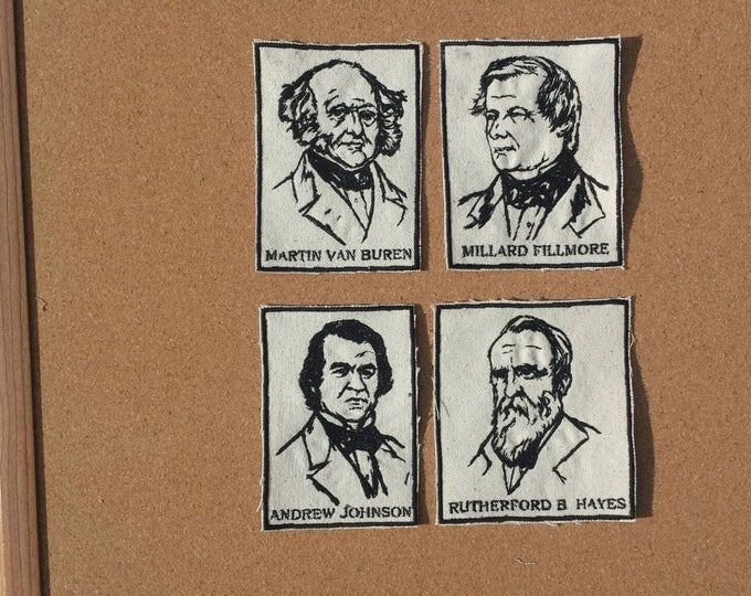 Presidents Set of Four Vintage Graphic Embroidered Canvas Jacket Patches