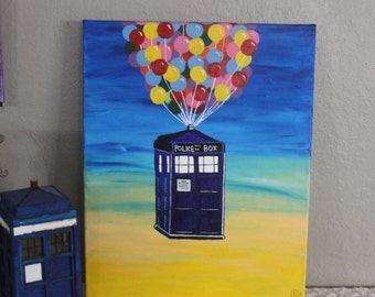 Doctor Who Tardis mixed with Disney's UP// Police box with balloons// Dr. Who Tardis// Kids decor