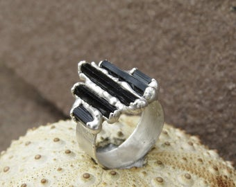 Black tourmaline ring | Tourmaline silver plated ring | Multistone schorl ring | Tourmaline electroformed ring