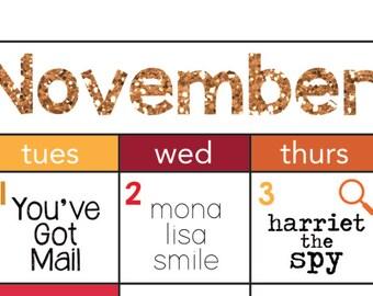 November 2016 Movie Advent Calendar | Digital Download Movie Calendar | Holiday Movie Countdown