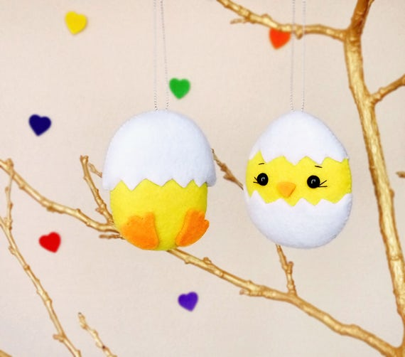Easter eggs personalized easter chick baby shower favor felt like this item negle Gallery