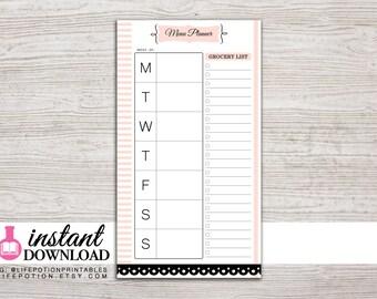 Planner Printable - Menu Planner - Weekly Menu - Grocery List - Personal Size - 3.75 x 6.75 in. - Design: Mademoiselle