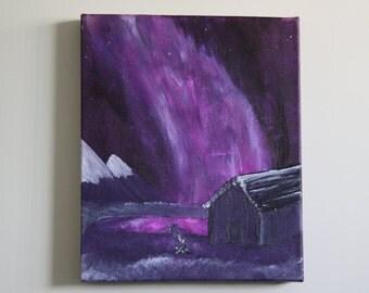 FREE SHIPPING Aurora Borealis - the sky of colour, acrylic painting canvas art, 10x12 Northern Southern Lights Aurora Australis Borealis