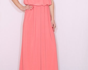 Coral bridesmaid dress Long grecian goddess dress Salmon pink Maxi dress