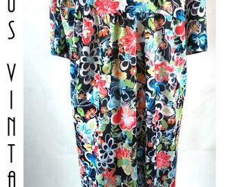 "Plus Size UK 30 XXL Vintage 1980s Floral Summer Dress Silky Boho Psychedelic US 26 Bust 58"" 149cm"