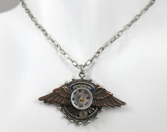 Steampunk necklace with wings, compass and mini gears