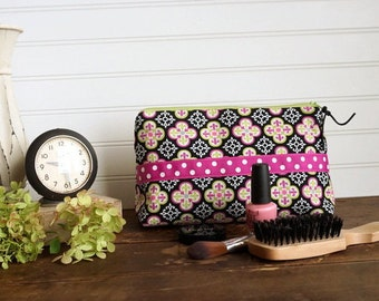 Large Gusset Make Up Bag -Lime, Purple, Black Tile Print, Large Zipper Bag, Holds alot of make up