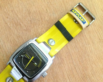 DIESEL watch (yellow/silver/grey) with upcycled bicycle tyre strap