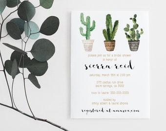 Cactus Bridal Shower Invitation, Printable, Minimalist, Modern, Wedding [43b]