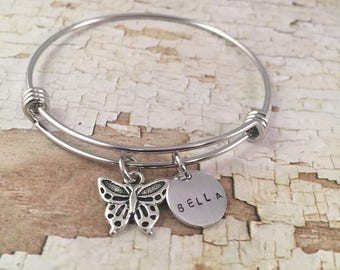 Butterfly charm bracelet, little girl jewelry, Little Girl bracelet, personalized name charm bracelet, butterfly charm, name bracelet