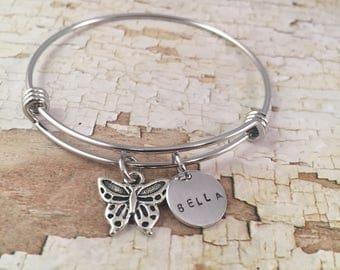 Butterfly charm bracelet, little girl jewelry, Little Girl bracelet, personalized name charm bracelet, butterfly charm, name bracelet