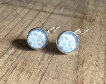 Cabochon, white and blue cabochon earrings