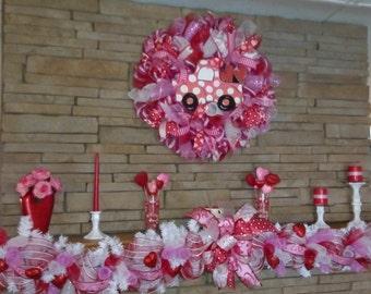 SALE-Valentines Day Garland, Valentines Day Wreath, Deco Mesh, Deco Mesh Wreath, Lighted Fireplace Garland, Garland, Seasonal Decor