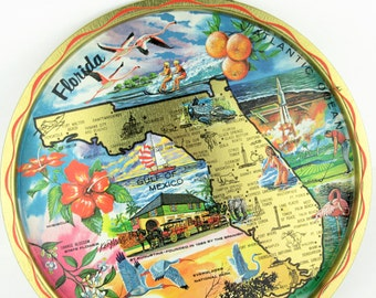 """Vintage Retro FLORIDA State Map Round 11"""" Metal Serving Tray~Colorful Graphics Souvenir Serving Tray"""