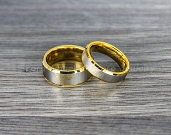 free shipping free custom engraving 2 piece couple set tungsten bands with beveled edge legend of - Zelda Wedding Ring