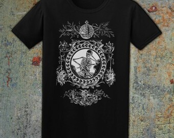 CAGED - Men's T-Shirt // Skeleton Caging an Angel // Gothic Tee // Skeleton Shirt // Skulls, Angels & Moths // Alternative Fashion