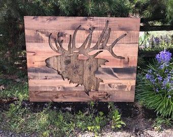 Rustic Elk Silhouette Wood Wall Art - Large
