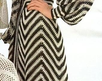 Vintage Caftan with Chevron Design Crochet Pattern PDF Instant Download