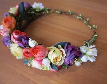Boho Bridal wreath, Boho headband, peach, amaranth, orange, champagne wedding accessories, wedding wreath,  halo, wedding accessories.