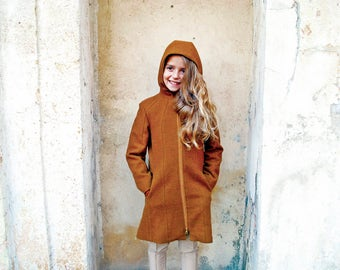 Girls winter coat/Wool coat/Fitted coat/Trench coat/Hooded coat/Toddler girl long coat/Pendleton swing coat/Funnel coat/Kids zipper coat