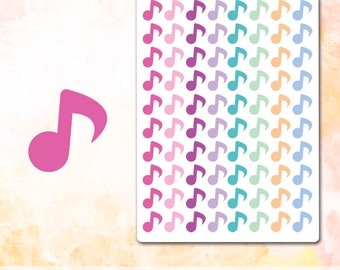 Music Notes Stickers, Music Notes Planner Stickers, Fits All Planners