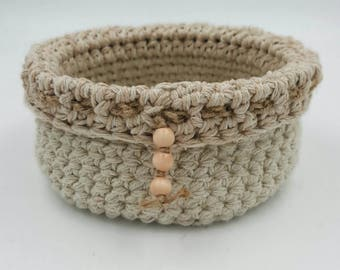 Crocheted Basket, Storage Basket, Decorative Basket, Twine Basket, Small Crocheted Basket, Soft Crocheted Basket, Organizer Basket