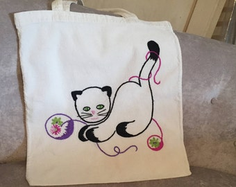 Cat Tote Bag Embroidered Vintage