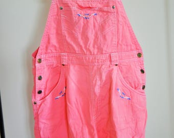 Vintage Denim Overalls / Small / S / Onepiece / One Piece / Romper / Jumpsuit / Pink / Shorts / Short / 90s / Pregnant / Pregnacy