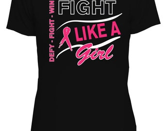 Fight Like A Girl T-Shirt, Support Breast Cancer