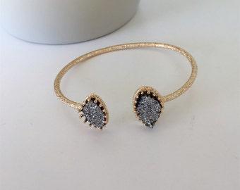 Black Druzy Cuff Bracelet, Druzy Bracelet, Black Druzy, Silver Druzy, Stone Cuff Bracelet, Gold Druzy Cuff Bracelet, Cuff Bracelet
