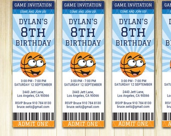 Basketball birthday invitation ticket sports party invite, basketball game printable download, DIY invitation boys party, sports theme PDF