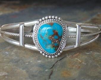 Geneva Ramone ~ Navajo Sterling Silver and Turquoise Cuff Bracelet
