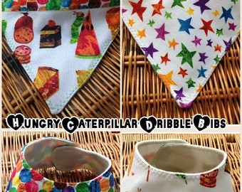Hungry Caterpillar Dribble Bib. Foods, spots and stars. Eric carle baby gift