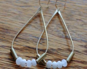 Brass Teardrop Earrings with Rose Quartz