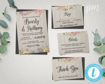 Printable Floral Wedding Invitation Template Set + RSVP, Details - Instant Download - Editable in Our Web Application
