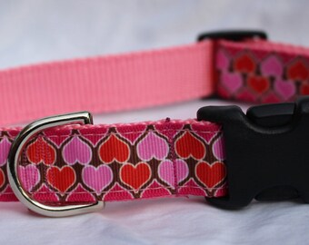 "1"" Heart Print Dog Collar - Side Release Buckle"
