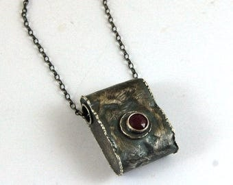 SALE 20% off !- use the coupon code: SALE20 ruby silver pendant necklace, raw rough oxidized silver, chain necklace