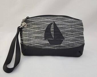 Sailcloth Wristlet, Sailboat, Carbon Fiber Sailcloth Bag, Recycled Sail Wrist Bag, Made to Order, Nautical Bag, Recycled Sail Cloth Bag