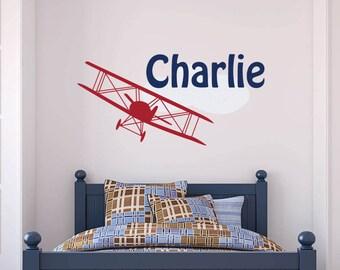 Airplane Name Decal, Biplane Decal, Vintage Airplane Decal, Plane Wall Decal, Airplane Wall Decal, Transportation Decal, Airplane Nursery