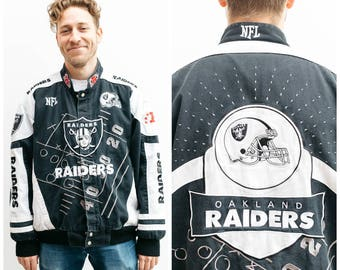 RAIDERS Patched Up Denim Jacket / Bomber Cut / Size XL