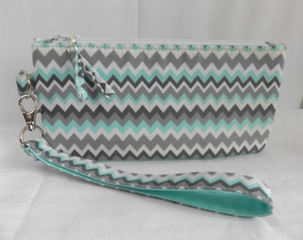 "32Yt - turquoise zigzag Clutch, @ 8""x 4"", cotton, padded, standing, detachable handle, MJSEWS"