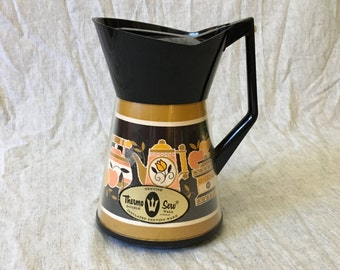 Vintage Thermo Serv Gold and Black Colonial Pattern Insulated Coffee Carafe