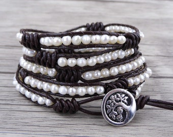 White Pearl Bracelet Leather wrap bracelet Fresh Water Pearl Bracelet Real pearl bracelet pearl wrap bracelet bead wrap bracelet SL-0495