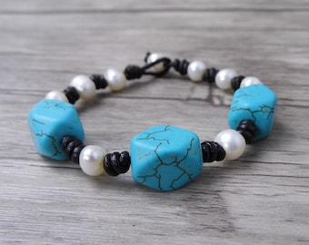 Peal Beaded Bracelet Boho waps bracelet Pearl waps bracelet turquoise bead bracelet turquoise bracelet Single Bracelet Pearl jewelry SL-0505