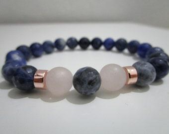 Bracelet Sodalite and Rose Quartz, bracelet of semi-precious stones, bracelet for women, gift for women, pink gold plated