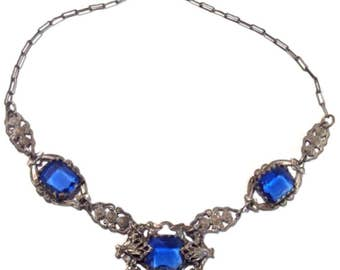 Antique Victorian Blue Glass Choker Necklace | Art Nouveau Necklace