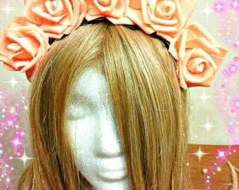 Rose Headpiece, Renaissance Fair, Medieval Maiden, Fairy Costume, Flower Crown, Floral Headband, Coral Orange, Forest Nymph, ADULT USE ONLY